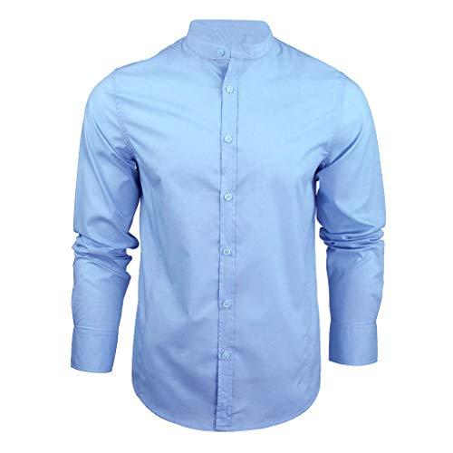ESAILQ Herren BeiläUfig LangäRmliges Plus Size Hemd Mit Fester Bluse(Medium,Blau)