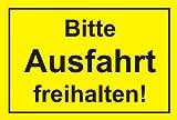 Hinweis-Schild Bitte Ausfahrt freihalten! I hin_042 I Größe 30 x 20 cm I Achtung Parkverbot Halteverbot I gelb schwarz