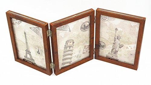 Smiling Art klappbarer Bilderrahmen aus Holz mit Glas für 6 Fotos (Braun, 13x18 cm)
