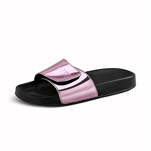 Heart&M Fashion Flat Sole Flat Heel Velcro de femmes solides Sandales Color Letters Pu Chaussons Pink