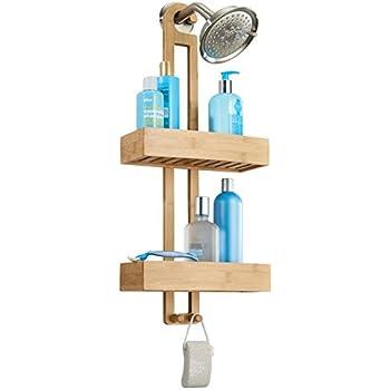 relaxdays serviteur de douche en bambou h x l x p 65 x 28 x 15 5 cm 3 tages compartiments. Black Bedroom Furniture Sets. Home Design Ideas