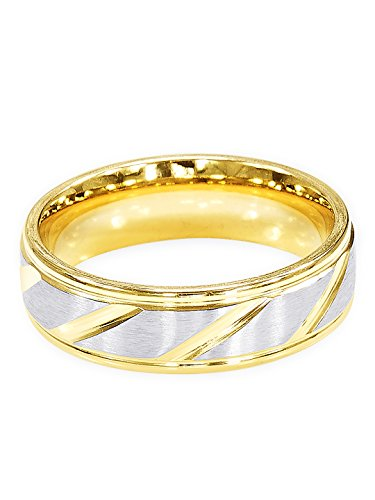 Peora 316L Stainless Steel High Standards Silver-Gold Plated Ring Wedding Band for Men and Boys  available at amazon for Rs.399