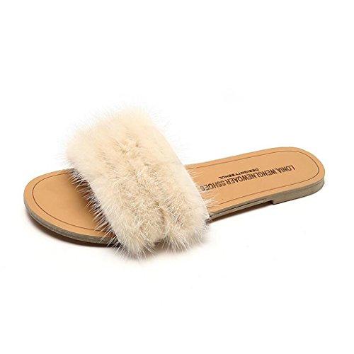 xy Infradito e Ciabatte da Spiaggia Flip Flop Donna Estate Outdoor Fashion Chic Personality Flat Bottom Hairy Cool Drag (Colore : Beige, Dimensioni : EU36/UK3.5/CN35)