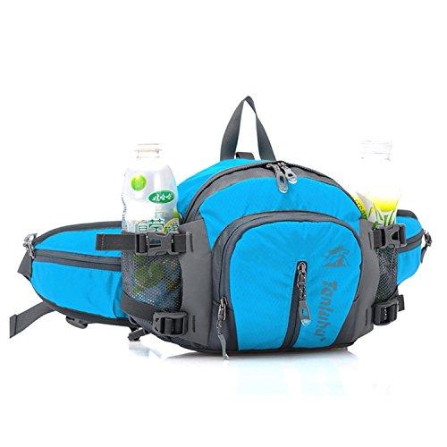 Leggero vita borsa a tracolla, borsa impermeabile petto e spalle squilibrerebbe Zaini tracolla multiuso per Outdoor Arrampicata, Escursionismo, Corsa, Campeggio, Viaggio, Blue Blue
