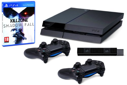 Playstation 4 - console con camera, 2 controller dualshock 4 e killzone: shadow fall [bundle]