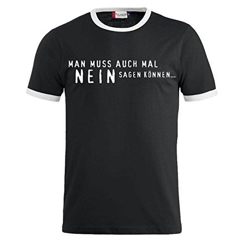 Männer und Herren T-Shirt Mann muss auch mal NEIN sagen können (mit Rückendruck) Schwarz/Weiß