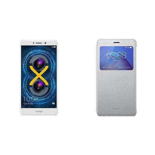 Pack Honor 6X Smartphone portable débloqué 4G (Ecran: 5.5 pouces - 32 Go - Double Nano-SIM - Android 6.0 Marshmallow) Or + Étui pour Honor 6X Argent