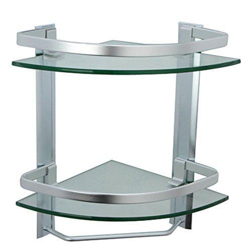 Kes mensola in vetro con barra di tovagliolo in alluminio 2 livello montaggio a parete bagno,argento spruzzato di sabbia,a4123b