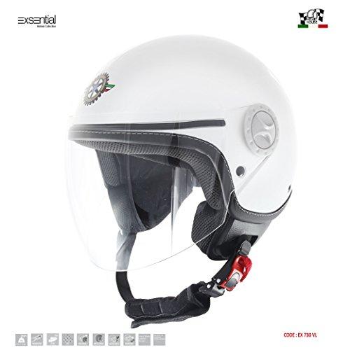 Exsential EX 730VL – Casco semijet, blanco brillante para scooter y moto, talla XL