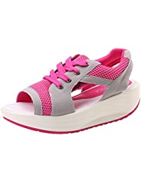 HBDLH-Scarpe da donna/Autumn Lacquered Skin Thick Bottom Muffin Slope Lace Up Casual Shoes Single Shoe Shoes.36 Gules