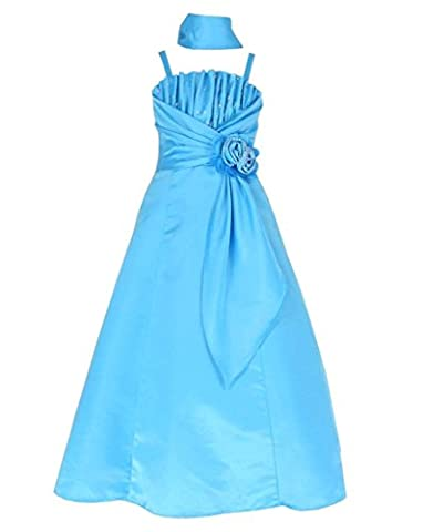 Satin Occasion Pageant Wedding Bridesmaids Girls Dress Turquoise Blue 14 Years (T6001-14#)