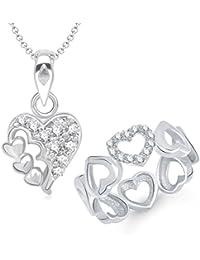 VK Jewels Beautiful Heart Rhodium Plated Alloy CZ American Diamond Ring & Pendant Combo Set For Women [VKCOMBO1217R]