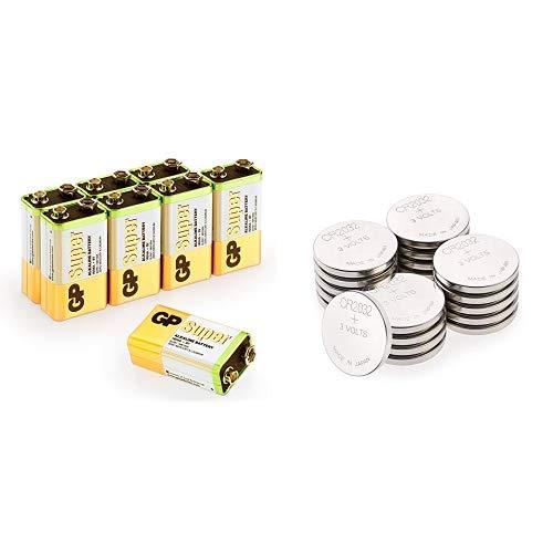 GP Batteries 9v Batterien, 9Volt Block (6LR61, MN1604) Spannung: 9 Volt Super Alkaline & 2032 3v Lithium Knopfzellen, 20 Stück Li-Mn Knopfbatterien CR 2032 - 3 Volt im 20-er Pack 3v Single