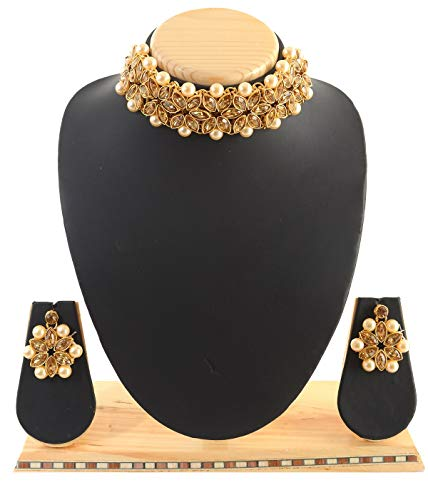 Indian Fashion Jewellery kundan Style Look Traditional Gold Plated Golden Pearl Choker/Necklace Set with Earrings for Girl and Women