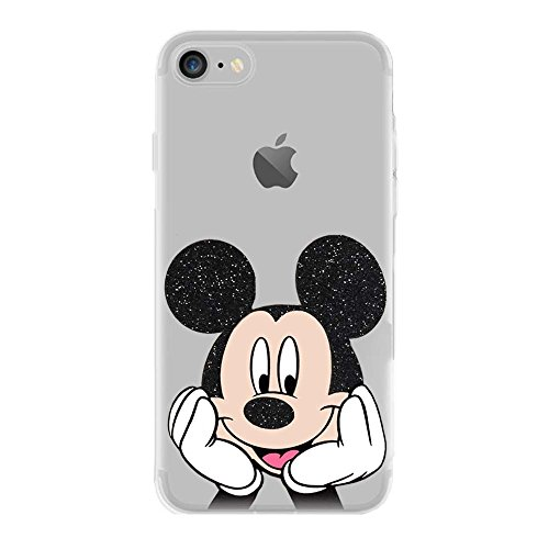 IP7 TPU Softcae Weiß Protective Schutzhülle Handycover Etui Bumper Staubdicht Telefon-Kasten Case Shell Abdeckung Bumper Back Cover Fashion glitter Disney Minnie Mouse Fluo Fluoreszierend, iPhone 7 Mickey Mouse