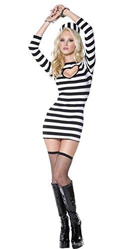 SEX PLAYSchwarz-Weiß-Streifen Weiblichen Gefängnis Uniformen Sexy Unterwäsche