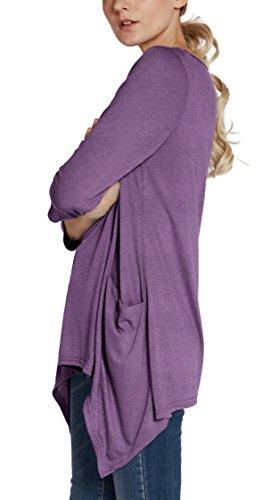 Urban GoCo Donna Casual Maglietta con Manica a 3/4 Tunica Camicetta Lunga con Tasche Plus Size Heather Purple