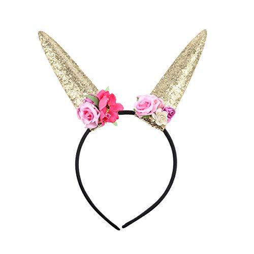 hen Hase Ohren Horn Stirnband Pailletten mit Spitze Blumen für Party Cosplay Kostüm Zubehör (Golden) ()