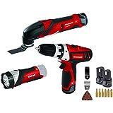 Einhell Set de herramientas TE-TK 12 Li (12 V, 2 x batería de iones de litio, cargador, taladro con puntas, herramienta multifunción con hojas de lija y sierra, lámpara LED)
