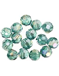 ILOVEDIY 30 piezas de pavo real de verde AB cuentas de cristal facetado 6 mm para fabricación de joyería