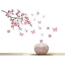 DDLBiz Hermosa Vinilos decorativos para pared (Mariposa de la flor de Rose)