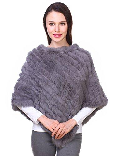 Ferand poncho mantella di vera pelliccia di coniglio lavorata a maglia scialle per donna-grigio scuro