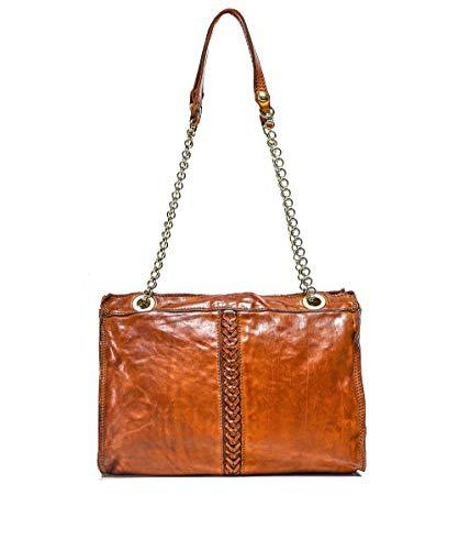 Campomaggi Damen Leder geflochtene Shopper Tasche Braun Ein Größe