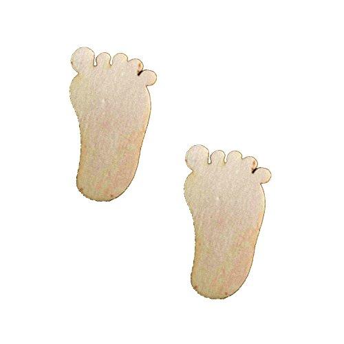 Magideal 50 Wooden MDF Plain Feet Shapes 30mm x 3mm