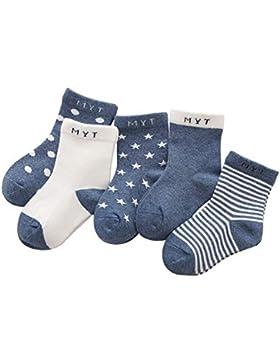 ANIMQUE Kinder Baby Socken 0-10 Jahre Jungen Mädchen Täglich Basic Baumwolle Crew-Socken 5er Pack Schüler Casual...
