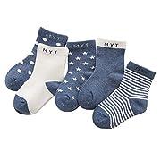 Kinder Baby Socken 0-12 Monate Jungen Mädchen Täglich Basic Baumwolle Crew-Socken 5er Pack Casual Schule Atmungsaktiv Bequem Dunkelblau