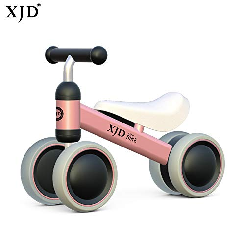 XJD Baby balance Bike Bicycle Children Walker, Toddler Trike, Kids Ride On, Age 10 to 24 Months Child No Foot Pedal Four Wheels Infant Walking Toys for 1-2 Years Old Boys Girls Indoor Outdoor (Pink)