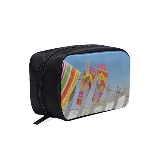 Strand Flip Flops In Regenbogen Farbe Tragbare Reise Make-Up Kosmetiktaschen Organizer Multifunktions Fall Kleine Kulturbeutel Für Frauen Und Männer Pinsel Fall -