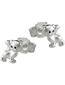 Unbespielt Ohrstecker Katze mattiert glänzend für Kinder 925 Silber 6 x 5 mm inklusive Schmuckbox Ohrschmuck Ohrringe