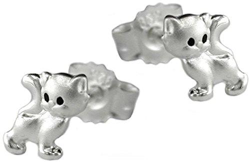 Auriculares de joyas pendientes para niños 925 de gato brillante enmarañada plateado 6 x 5 mm