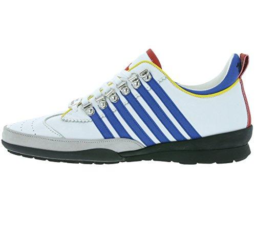 Dsquared2 chaussures baskets sneakers homme en cuir 251 blanc Weiß