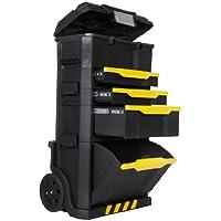 Stanley Rollende Werkstatt aus Metall-Kunststoff 1-79-206/Werkzeugwagen leer mit 3 modularen Einheiten/Vielseitige Werkzeugbox für Kleinteile und große Werkzeuge