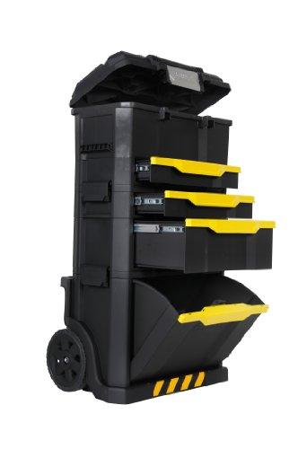 Stanley Rollende Werkstatt aus Metall-Kunststoff 1-79-206 - Werkzeugwagen leer mit 3 modularen Einheiten - Vielseitige Werkzeugbox für Kleinteile und große Werkzeuge
