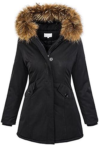 Damen Echtfell Winter Jacke Parka Kapuze Designer Damenjacke Outdoor [D-204 - Schwarz - Gr. L]