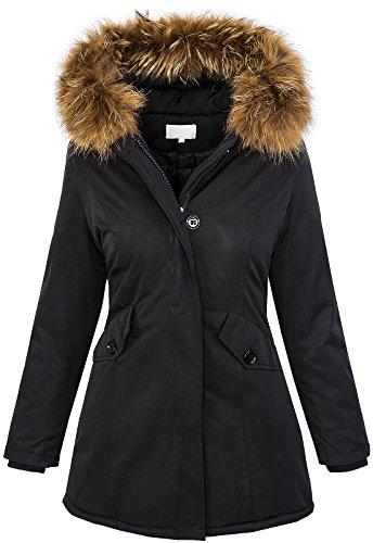 9fc373d9b07700 Damen Echtfell Winter Jacke Parka Kapuze Designer Damenjacke Outdoor  D-204  - Schwarz -