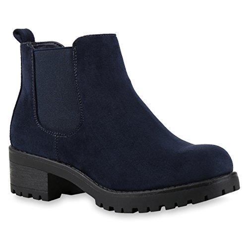 Stiefeletten Damen Chelsea Boots Profilsohle Blockabsatz Leder-Optik Booties Schuhe 121345 Dunkelblau Bernice 38 Flandell