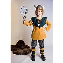 Disfraz de vikingo Niños Vikingo Pierna Sirven y parte superior barbaren Disfraz Juego Bárbaro Juego Disfraz celtas Disfraz accesorios infantil Disfraz para Carnaval Disfraz infantil