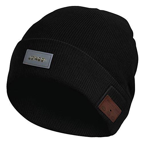 Bluetooth Mütze Beanie Hüte für Männer und Frauen, mit Hellen LED Licht, Drahtlose Headset Musik Cap Winter Warme Strick Hut für Outdoor Sport- Schwarz