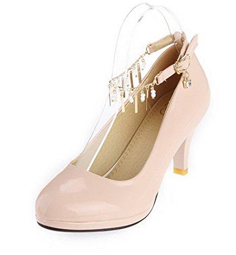 VogueZone009 Damen Pu Leder Mittler Absatz Rund Zehe Rein Schnalle Pumps Schuhe Pink