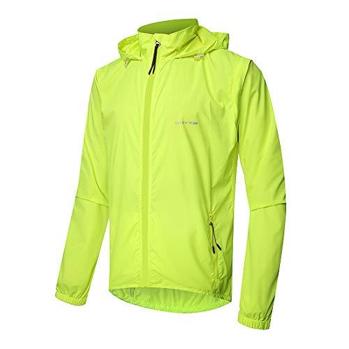 GWELL Herren Fahrradjacke Regenjacke Wasserdicht Winddicht Atmungsaktiv Fahrradbekleidung Herren Grün 4XL