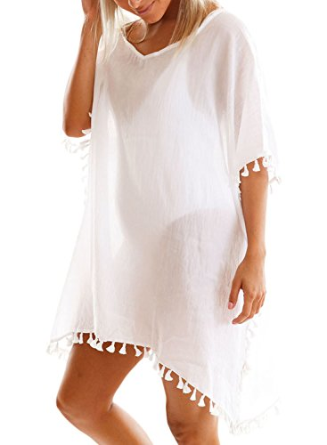 Aleumdr Damen Bikini Cover up Pompon Quasten Saum Strandkleid Strandponcho Sommer Überwurf Weiß Large (Cover Strand Pareo)