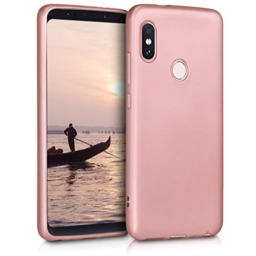 kwmobile Funda para Xiaomi Redmi Note 5 (Global Version) / Note 5 Pro - Carcasa para móvil en TPU Silicona - Protector Trasero en Oro Rosa Metalizado