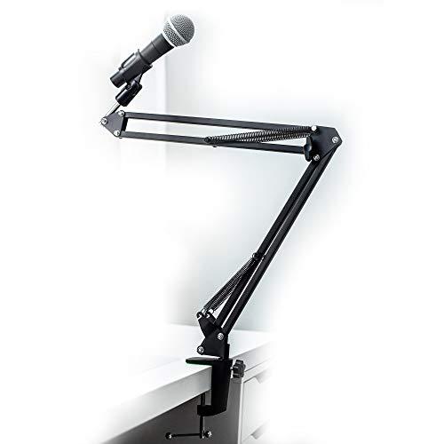Mikrofonständer Gelenkarmstativ profesioneller Mikrofonhalter Mikrofonarm Universal einstellbar komp. zu Sennheiser E825 E835, Auna MIC-900 Serie, Rode, Blue Yeti, Samson uvm. von Weiss - More Power +
