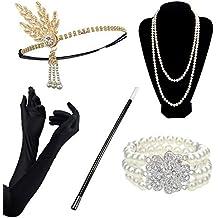 DRESHOW Accesorios de los años 20 Conjuntos Flapper Disfraz Gatsby Pluma  Diadema Pendientes brillantes Collar largo 1d9d034e8d92
