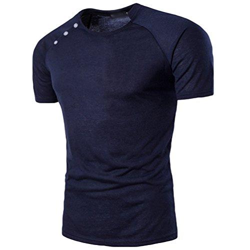 ZhiYuanAN Herren Einfaches T-Shirt Mit Knopf Dekoration Normallack Wild Rundhals Tee Lässig Und Bequem Schlanke Passform Shirt Tops Marine