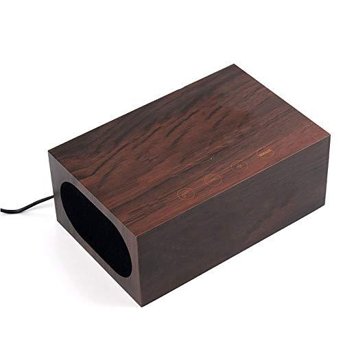 WangLx Ele Kabellose Ladestation Bluetooth Stereo NFC Lautsprecher mit Wecker LED Zeit, 3,5mm Audio für MP3 Player Laptop Desktop PC, Dual USB Port für Heim Auto Büro, Brown - Mp3-player Desktop